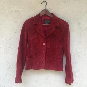 Red Suede rustic festival fall jacket size PM
